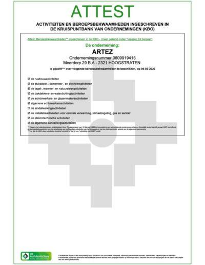 Attest activiteiten en beroepsbekwaamheden KBO ArteZ