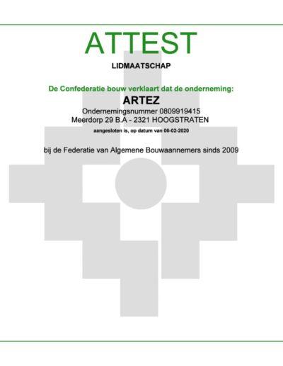 Attest lidmaatschap confederatie ArteZ